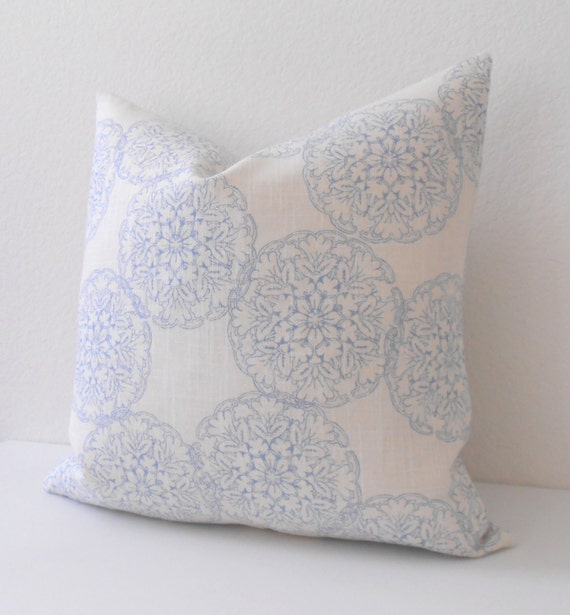Blue Medallion Throw Pillows : Double sided Light blue medallion decorative throw pillow