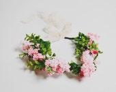 Custom Order 7pcs Handmade Bohemian Pink Faux Floral Headband Wreath