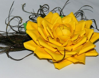 Yellow rose,chrysanthemum, leather flower brooch,Genuine leather brooch, Natural leather flower brooch yellow with green leaves and feathers