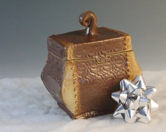Treasure Box - Lidded Box - Brown and gold - Pottery