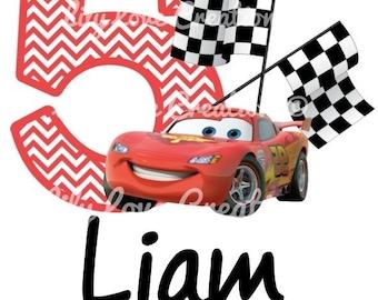 Lightning McQueen Birthday Shirt - Cars birthday shirt - Mcqueen personalized birthday shirt - Cars theme