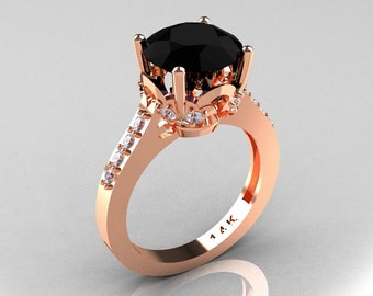 Classic 14K Rose Gold 3.0 Carat Black and White Diamond Solitaire Wedding Ring R301-14KRGDBD
