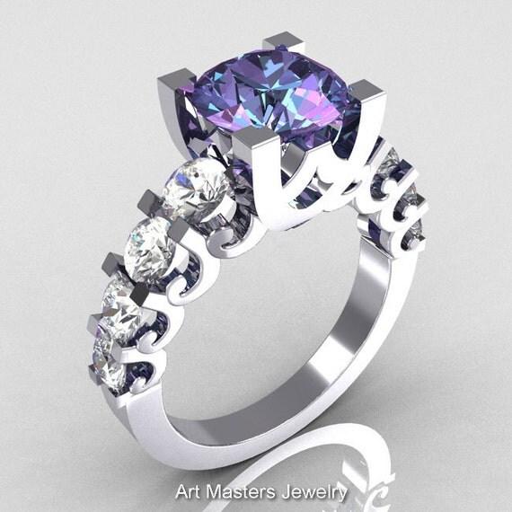 Modern Vintage 18K White Gold 2.0 Carat Alexandrite White Sapphire Designer Wedding Ring R142-18WGAL