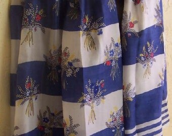 Vintage 50s M. Guillemin France Sheer Silk Scarf 30x50 bouquets navy white red