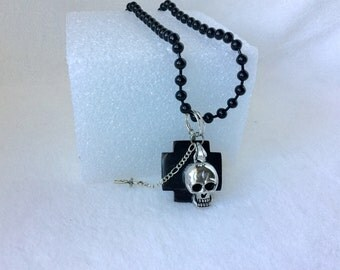 Necklace, Skull  Pendant ,Skull  Necklace, Black Agate, Tiny Cross, Steampunk Necklace, Goth Necklace