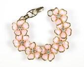 "Vintage Pale Pink Flowers Bracelet Gold Tone Metal and Plastic 7 1/4"""