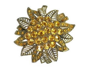 Vintage Light Topaz or Amber Rhinestones Brooch Filigree Style Flower