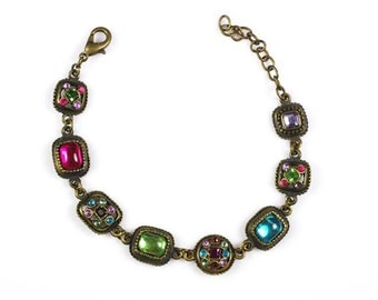 Vintage Multicolor Rhinestones Bracelet Adjustable to 7 3/4 Inches