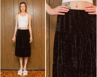 Vintage 90s A. Byer Three Tier Ruffle Goth Gothic Witch Wiccan Grunge Crushed Black Velvet Knee Length A Line Circle Skirt S M L
