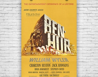 "Ben Hur, Charlton Heston, 1959 American Epic Historical Drama Film, Movie Print Poster - 12""x18"""