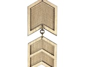 KAHN | military chevron, chevron necklace, geometric military inspired chevron pendant necklace: long necklace made of laser cut wood