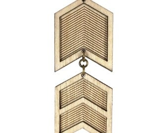 FOXY | chevron necklace, chevron necklace, geometric military inspired chevron pendant necklace: long necklace made of laser cut wood
