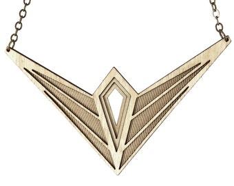 SWEET-TALKER | bold statement necklace, statement necklace, geometric bib necklace: laser cut wood necklace