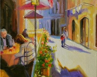 Art print ~ TOSCANA of original painting, Tuscan street scene,yellow and purple