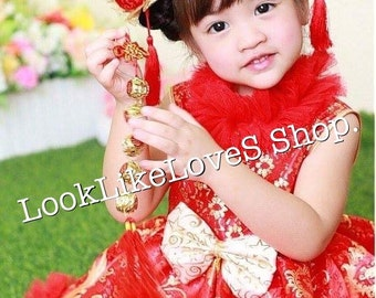 Little Girls  Chinese Stlye dress and Chinese bun hair clip set.,made to order.