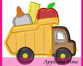 Instant Download Dump Truck School Supplies Machine Embroidery Applique Design 4x4, 5x7 and 6x10