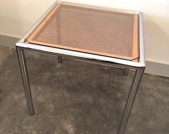 Milo Baughman Chrome & Cane End Table