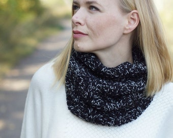 Hand knitted women cowl winter rustic woodland black gray READY TO SHIP