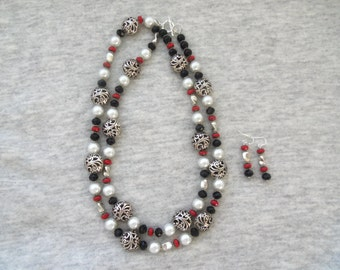 Sale- Women's HandCrafted TWO LOOKS in ONE Changeable Long or Short Double Strand Sterling Pearl Crystal Necklace w/ Earrings- Birthday Gift