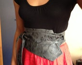 XL assymetric grey imprinted, embossed genuine leather obi belt, waist cincher, sash, girdle,cienture