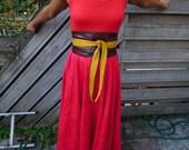 Genuine leather Mixed brown and mosterd oi belt, corset belt, sash, wrap belt, waist cincher, japanese style belt