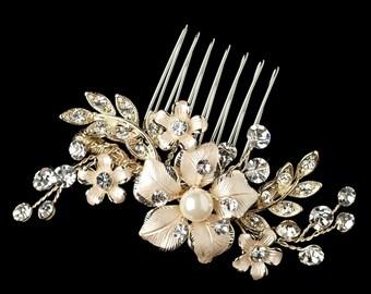 Bridal Comb, Bridal Hair Comb, Light Gold, Champagne, Pearl Comb, Swarovski Crystal, Floral Comb, Wedding Hair Comb, Flower, Leaf Comb
