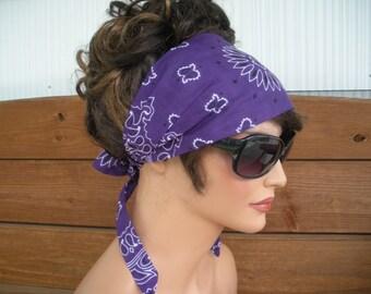 Womens Headband Fabric Headband Accessories Women Headscarf Yoga Headband Bandana in Dark purple Paisley - Choose color