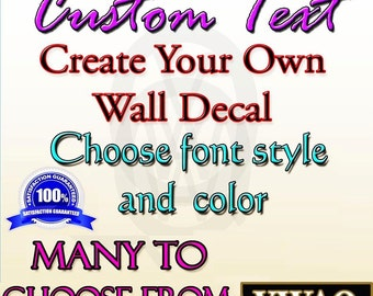 Custom Wall Decal Create Your Own Personalize Wall Quote Choose Vinyl Letters Stickers
