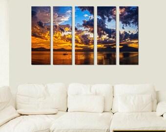 Canvas Print Ocean Sunset 5 Piece Mulit Panels Seascape Wall Art VWAQ-O30