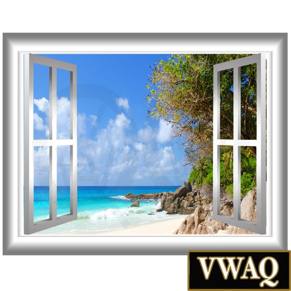 Coastline 3d window frame vinyl decal beach scene wall decal for Beach wall mural sticker