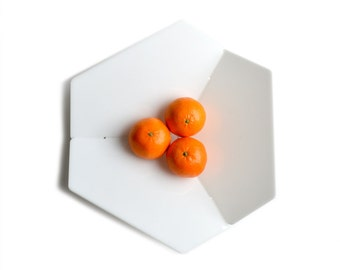 HEXAGON FRUIT BOWL: Acrylic minimalist modern flat pack fuit bowl, bread basket