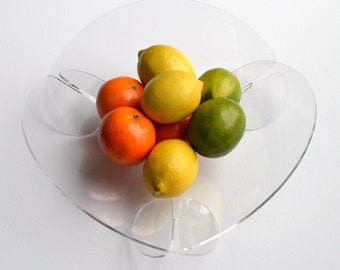 CIRCLE FRUIT BOWL: Acrylic minimalist modern flat pack fuit bowl, bread basket