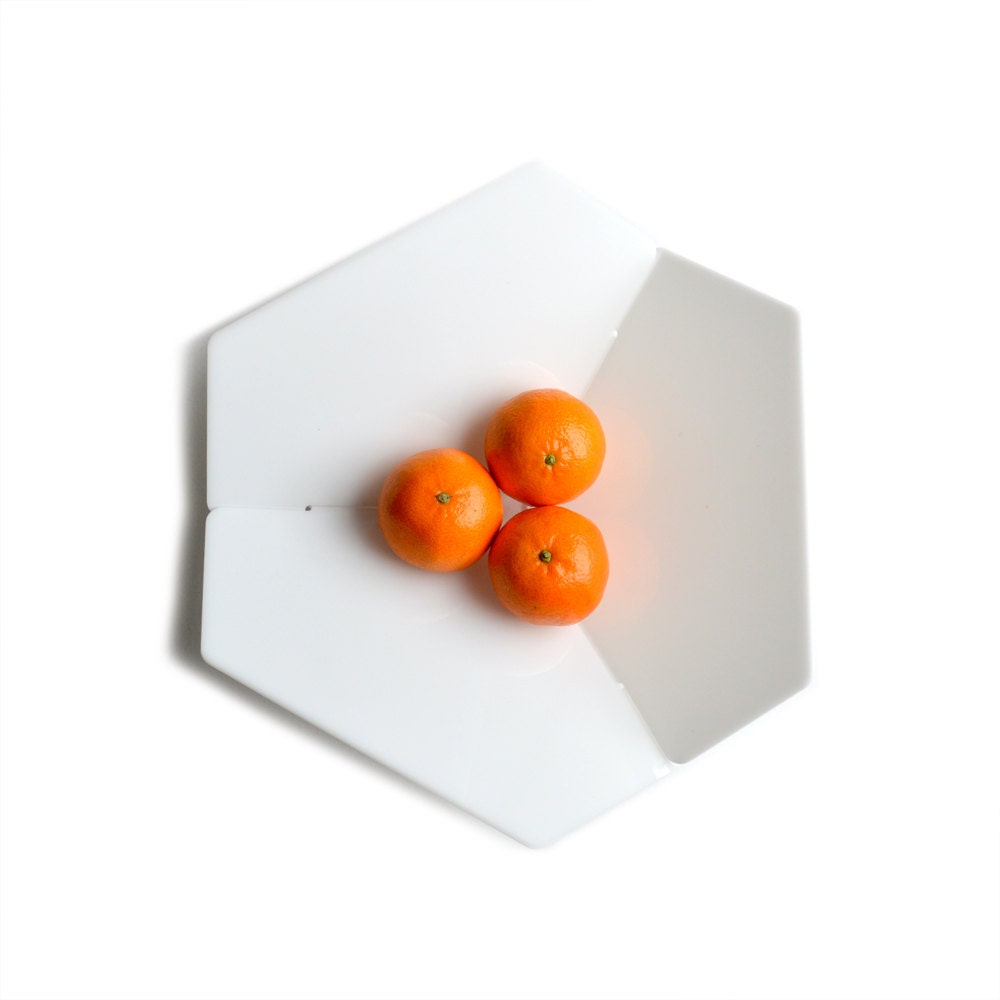 Hexagon Fruit Bowl Acrylic Minimalist Modern Flat Pack Fuit