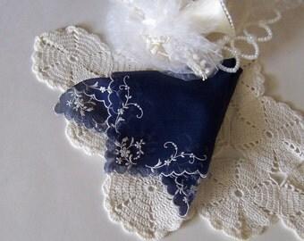 Something Blue Antique Wedding Hanky Bride's Handkerchief Something Old and Something Blue Shower Gift Heirloom Quality Wedding Keepsake