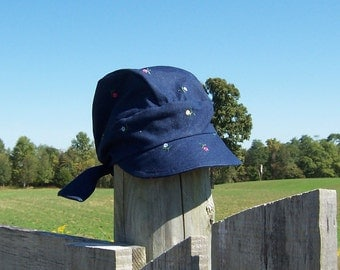 Denim Chemo Cap for Women, Baseball Style with Ties in Blue Embroidered Denim, Ready to Ship