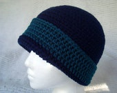 Crocheted Hat Beannie Cap Toque Navy blue Teal blue green Knit cloche CT005