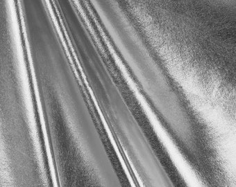 Metallic Foil Spandex Fabric by the yard - Silver