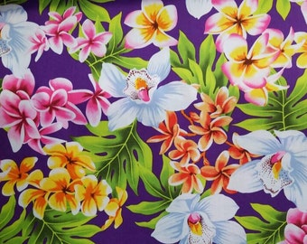 Welcome to Hawaii - Island Flowers in Purple 100% Cotton Fabric by the yard