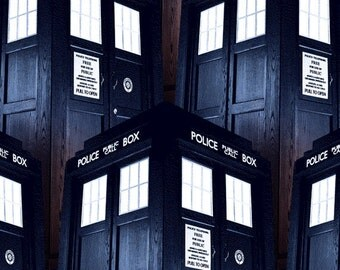 Dr. Who Police Call Box 100% Cotton Fabric sold by the yard