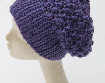 Women's Slouchy Hat, Violet Slouchy Beanie, Plum Crochet Slouchy Hat,  Crochet Chunky Hat, Women's Winter Accessorie, Crochet Slouchy Beanie