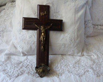 Big antique French 1800s religious holy water font w Jesus Christ corpus christi statue wooden wall cross crucifix, INRI IHS church decor