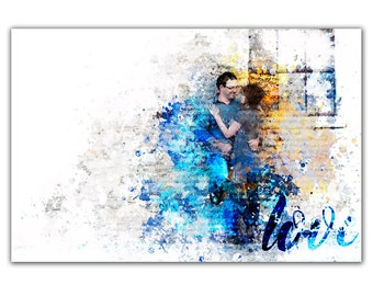 Custom Portrait Couple 1 Corinthians 13, Absract Art Portrait ~ LOVE art ~ Made to Order Couple Portrait ~