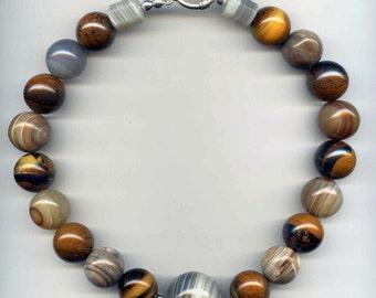 Large Round Tiger Iron & Botswana Beaded Necklace