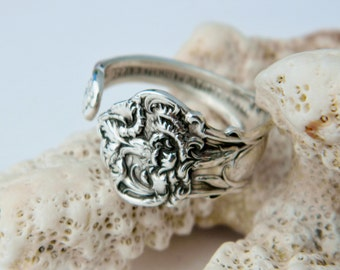 Sterling Silver Spoon Ring, Carnation Spoon Ring, Spoon Jewelry Thumb Ring