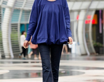 On Sale Size XL Loose Style Cotton Pullover Blouse Top in Royal Blue for Women - NCA008-1