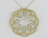 Diamond Necklace Pendant 14K Yellow Gold Flower Cluster Wedding Gift Chain 16.5""