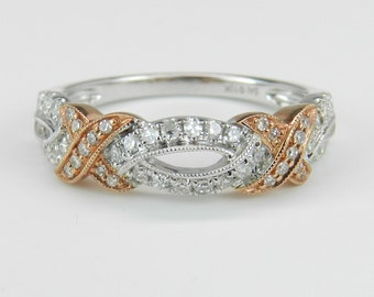 Diamond Wedding Ring Anniversary Band White Rose Pink Gold Size 7