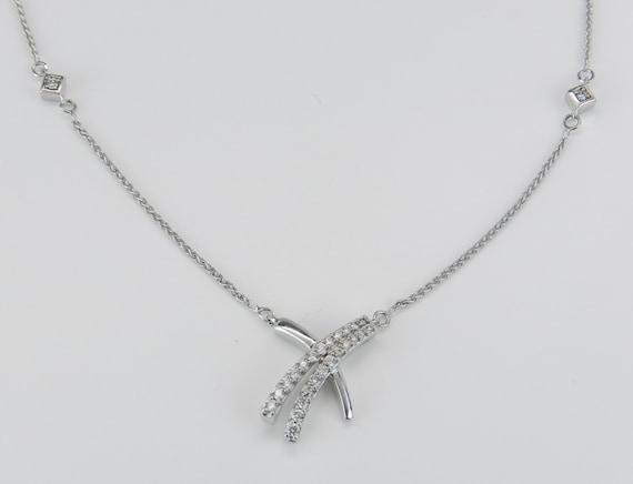Diamond Necklace Hugs Kisses Pendant White Gold Chain