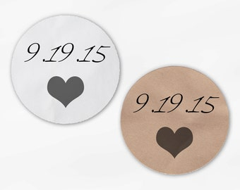 Wedding Date and Heart Wedding Favor Stickers - Dark Gray Custom White Or Kraft Round Labels for Bag Seals, Envelopes, Mason Jars (2005)