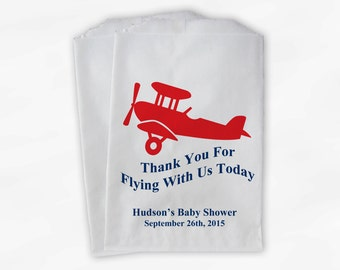 Personalized Airplane Party Candy Favor Bags - Thanks For Flying Custom Treat Bags for Baby Shower - 25 Paper Bags (0018)